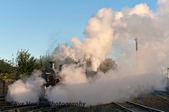 Standard 2 mogul 2-6-0 no 78019 moves off shed with Jinty 47406