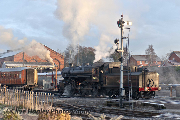 Kidderminster. Ivatt Mogul no 43106 arrives.