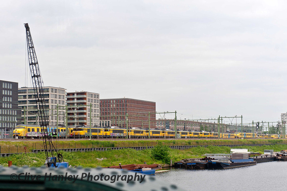 Lined up to the south of Amsterdam are several Class 1800 1,500Kv DC locos.