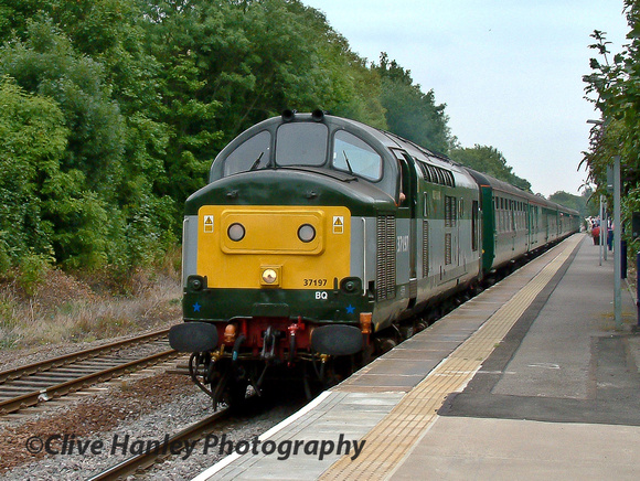 A most unusual excursion. Uniquely liveried Class 37 no 37197 was tnt with Crompton 33202 Meteor