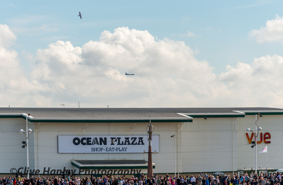 After the stunning flypast with the Red Arrows XH558 flew over Southport.