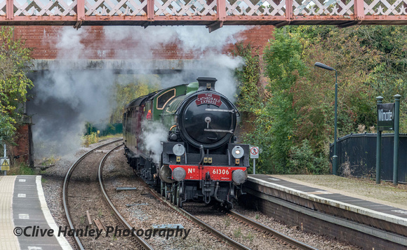 LNER B1 no 61306 (named Mayflower) passes Wilmcote station on the final few miles of its journey from Paddington to Stratford upon Avon