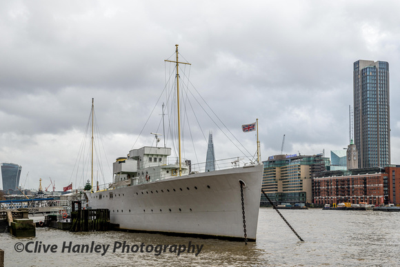 HQS Wellington moored on the Thames embankment