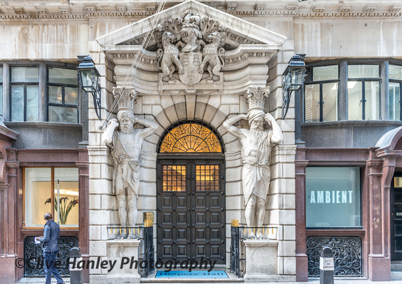 The main entrance to Drapers' Hall on Throgmorton Street. London