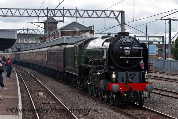 New build Peppercorn A1 4-6-2 no 60163 Tornado arrives at Nuneaton with The Cathedrals Express