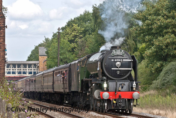New build A1 Pacific 60163 Tornado departs Kidderminster with the Cathedrals Express