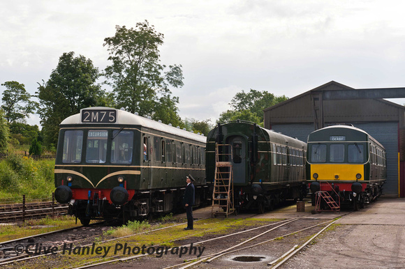 ****For a superb video of this event follow the link (below)***    The two-car DMU was warming up in the sidings at Butterley.