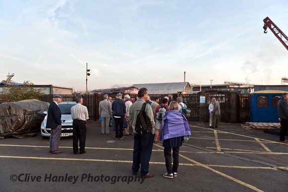 On arrival at Tyseley Locomotive Works. The gates were shut until everything was ready.