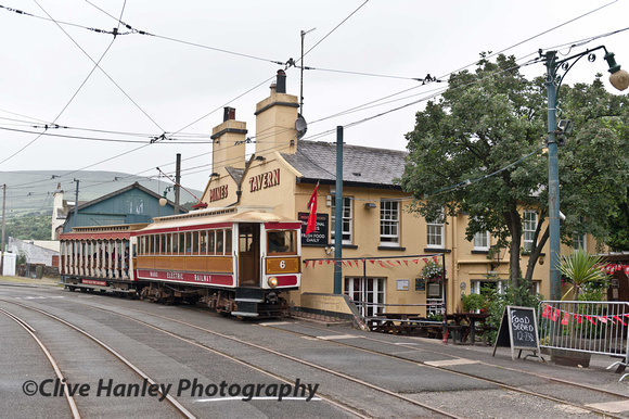Electric railway no. 6 arrives at laxey from Ramsey in the drizzling rain.
