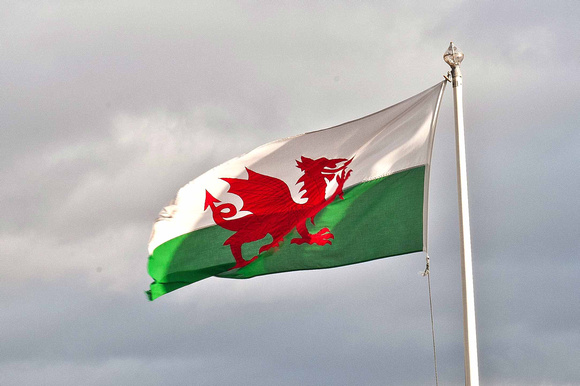 The Welsh Dragon flag proudly flys outside the hotel