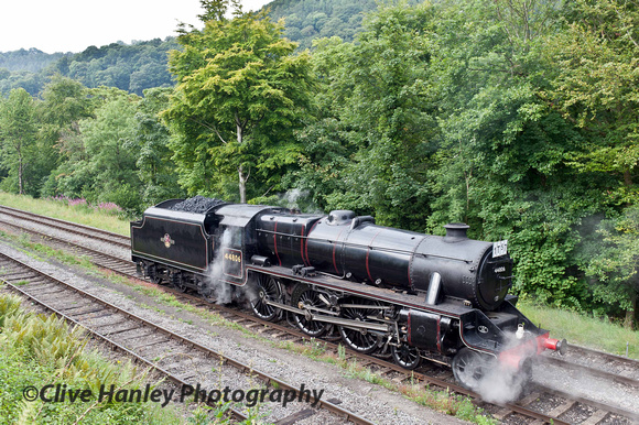 Stanier Black 5 no 44806 stands adjacent to the shed road at Llangollen