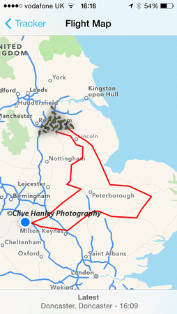 Todays route around the UK from Doncaster airport.