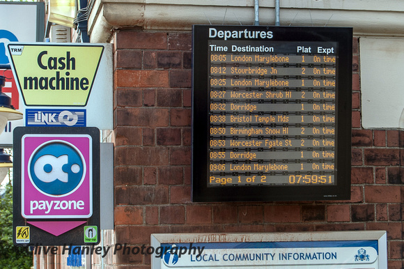 Solihull station train indicator. Our 8.38am Bristol train is on time.
