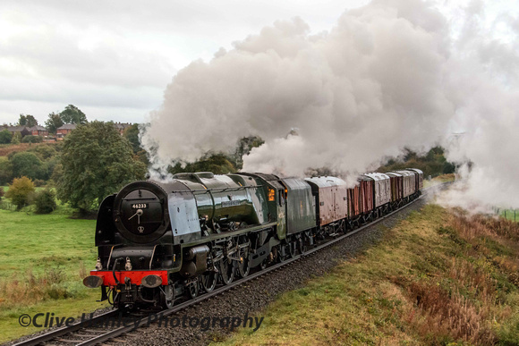 Princess Coronation Class 4-6-2 no 46233 Duchess of Sutherland passes through Burrs Country Park.