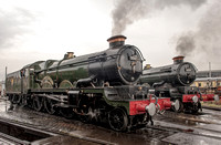 Two Double-Chimney GWR 4-6-0 Castle Class locos together
