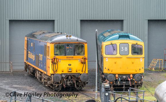 Standing outside the diesel depot at Kidderminster were these two locos.