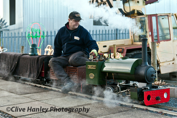 The miniature railway loco was being prepared at the top end of Kidderminster station.
