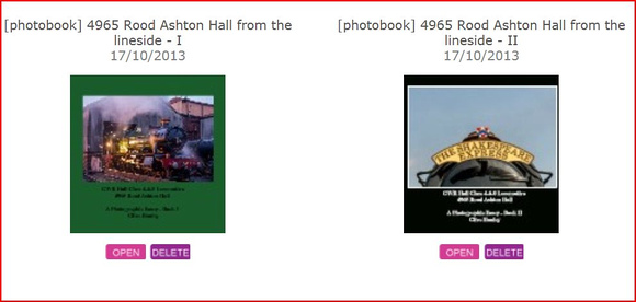 I've recently created two 60 page books of photographs of GWR Hall Class loco no 4965 Rood Ashton Hall