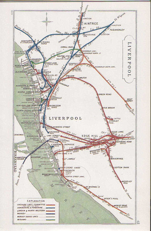 A detailed map of Liverpool railway lines. Aintree is towards the top.