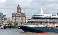 25 May 2015. 3 Cunard Queens arrive into the River Mersey.