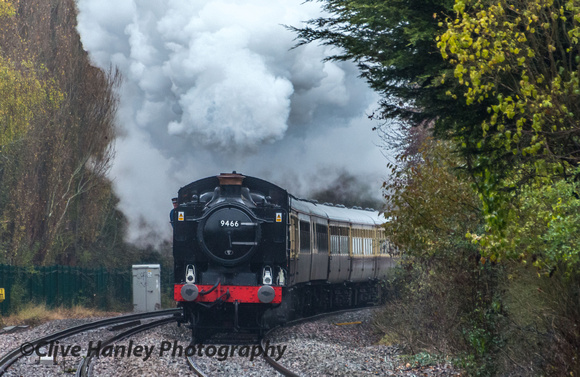 I began the day at a wet Wilmcote station as 9466 comes into view.